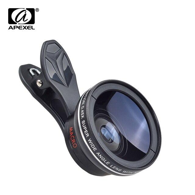 0.45x Super Wide Angle & 12.5x Super Macro Lens Professional HD Camera Lens for iPhone 6s/6s Plus /5 Xiaomi Samsung APL-0.45WM