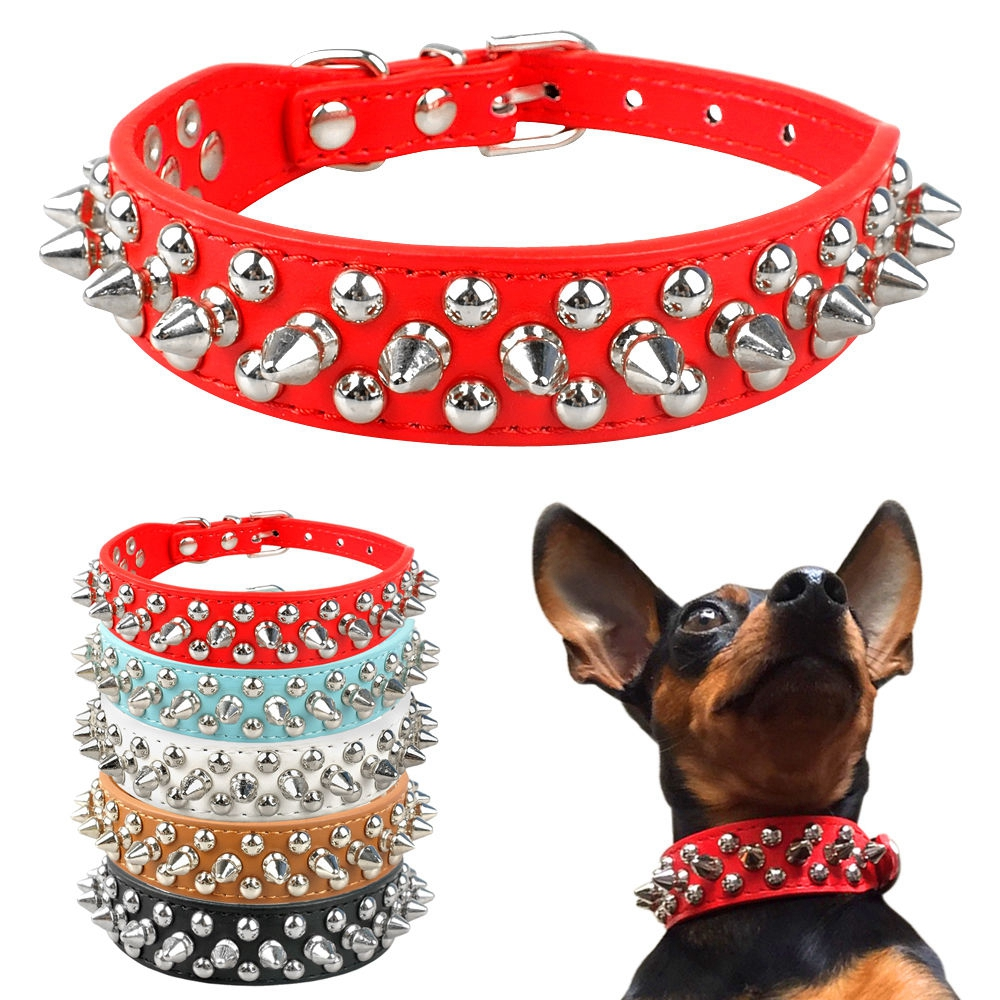 Rivets Studded PU Leather Dog Collars Cool Pet Puppy Collars for S/M Dogs XXS-L