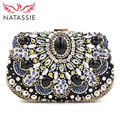 NATASSIE High Quality Women Beaded Clutches Evening Bags With Stone Black Elegant Ladies Wedding Day Clutches