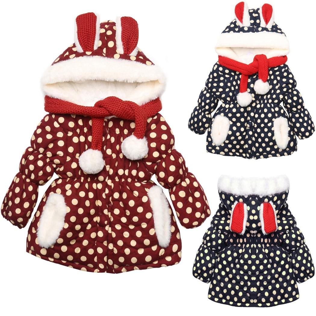 2016 Special Offer Full Cotton Casual Cashmere Regular New Kids Animal Rabbit Sleeve Dot Girls Coat