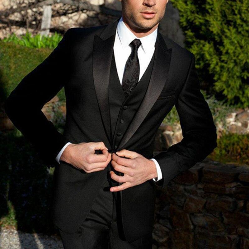 2019 عالية الجودة الرجال بدلة سوداء العريس البدلات الرسمية رفقاء صباح ستايل البدلات الرسمية للرجال بدل زفاف حفلة موسيقية الرسمي العريس بدلة-في بدلة من ملابس الرجال على  مجموعة 1