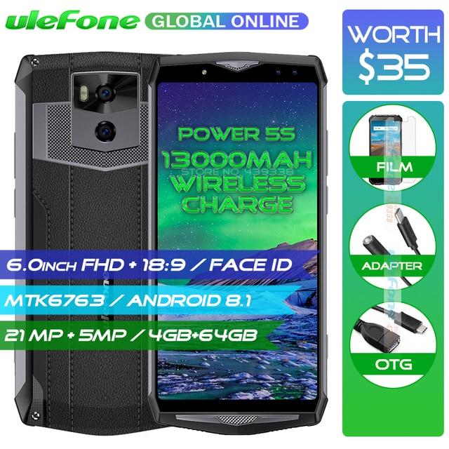 "Atras Ulefone Power 5S 13000 mAh 4G Smartphone 6,0 ""FHD MTK6763 Octa Core Android 8,1 4 GB + 64 GB 21MP cargador inalámbrico cargador de teléfono móvil cara"