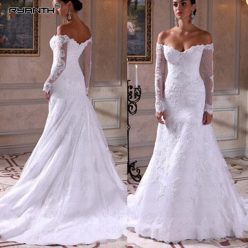Mermaid Wedding Dresses With Sleeves: Ryanth Off The Shoulder Long Sleeve Mermaid Wedding Dress