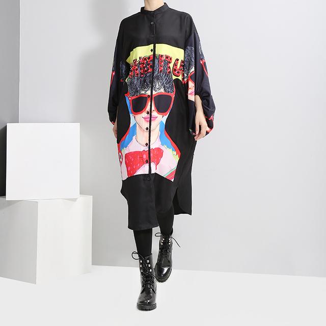Vestido 2018 Women Plus Size Long Black Printed Shirt Dress Lantern Sleeve Boho Chic Style Female Big Size Loose Dress