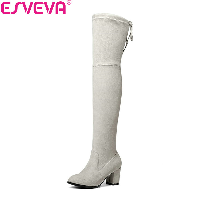ESVEVA 2018 Women Boots High Heels Over The Knee Boots Winter Round Toe Ladies Lace Up Short Plush Elegant Boots Big Size 34-43 esveva 2018 women boots square high heels boots pu cow leather short plush pointed toe knee high boots ladies boots size 34 42