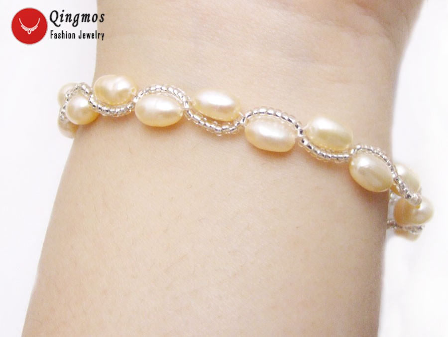 Qingmos Natural Pearl Bracelet for Women with 5-6mm Pink Rice Pearl & Crystal Handwork Weave Bracelet Jewelry Pulseira bra429