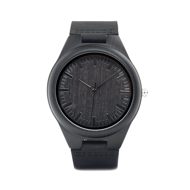 BOBO BIRD  Luxury Black Wooden Watch in Real Leather