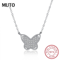 MUTO Butterfly Pendant 925 Sterling Silver Necklace for Women Lady Chain Necklace Fashion 925 Silver Fine Jewelry SVXL1941