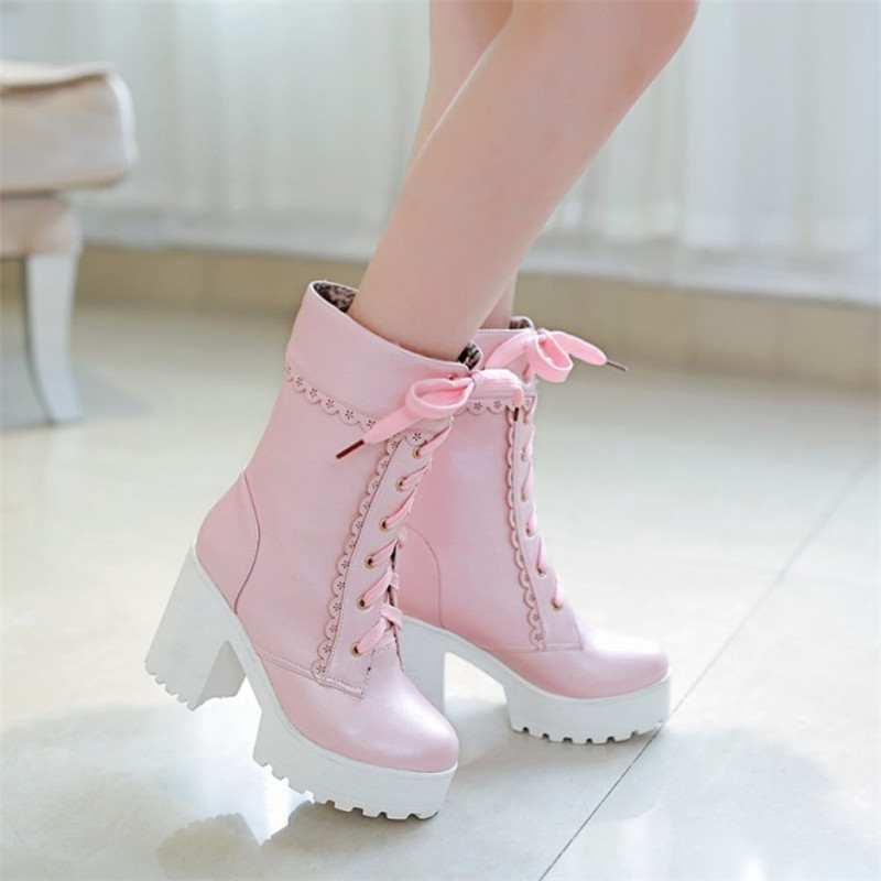 Lolita pink black white lace up tied high heel student shoes sweet lady cosplay platform chunky block mid calf short boots princess sweet lolita shoes japanese design customized special shaped black matt tie platform heel shoes 8528x