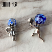 Emith Fla 925 Sterling Silver Charm Bead DIY Boy Girl Vintage Fashion New Jewelry for Women Fit for European Bracelet 3.5mmLover