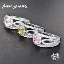 PANSYSEN Real Solid 925 Sterling Silver Topaz Rings for Women 3 Colors Gemstone Ring Girls Party Gift Wholesale Fine Jewelry