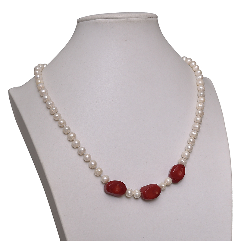 New 7-8mm Pick Size For Freshwater White Pearls and 13*18*10mm Red Coral Beads Making Diy Elegant Necklace 20inch H617New 7-8mm Pick Size For Freshwater White Pearls and 13*18*10mm Red Coral Beads Making Diy Elegant Necklace 20inch H617