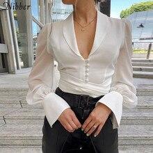 Nibber 2019Autumn Office ladies White Chiffon tops women full sleeve t-shirts Solid Elegant wild Slim Soft Belt tee shirts mujer