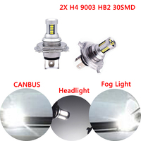 Dongzhen 2X White Car LED H4 HB2 4014 30SMD Fog Light Bulbs High Low Beam LED