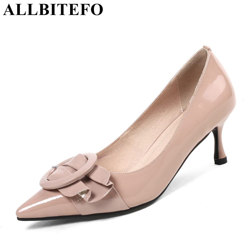 ALLBITEFO hot sale Patent leather pointed toe high heel shoes sexy high heels women shoes office ladies shoes women pumps allbitefo fashion sexy thin heels pointed toe women pumps full genuine leather platform office ladies shoes high heel shoes