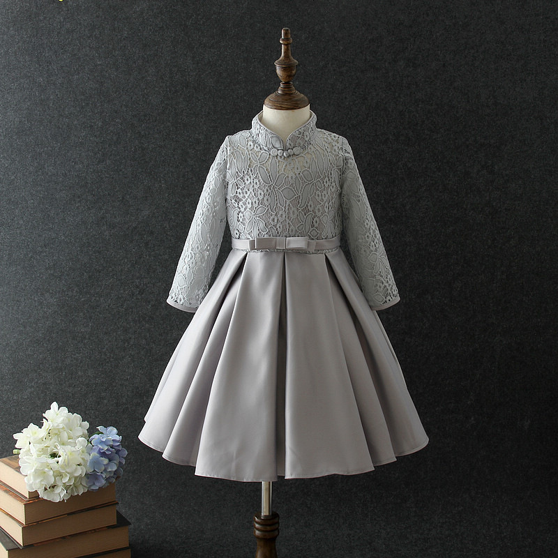 Long Sleeve Gray Kid Girls Dress Elegant 2019 Autumn Christmas Flower Girl Vestido 3 4 6 8 10 12 Years Old Girls Clothes 185011 girl