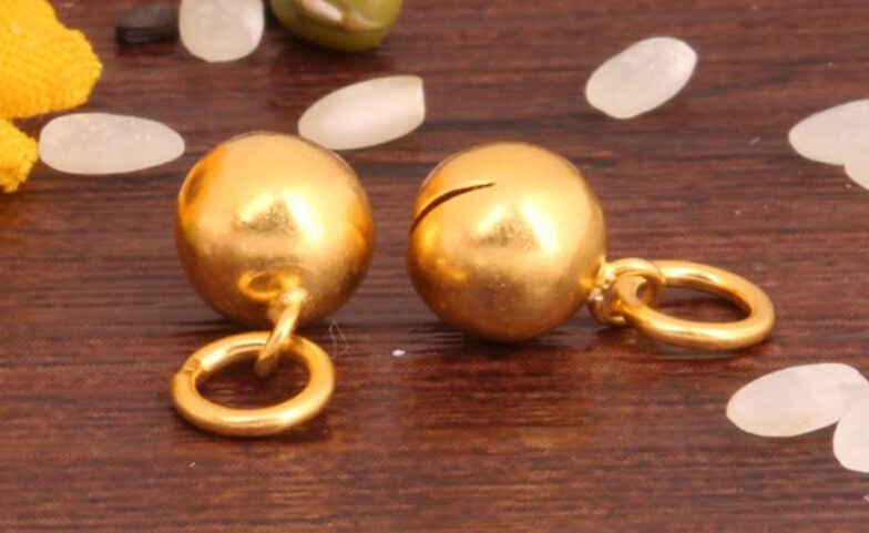 1PCS Pure 999 Solid 24k Yellow Gold Pendant/Lucky Belling Ball Pendant/ 0.9g pure 999 solid 24k yellow gold ring lucky men