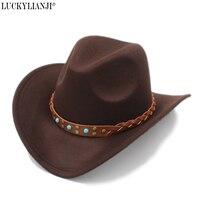 LUCKYLIANJI Kid Child Childre S Wool Felt Western Cowboy Hat Wide Brim Cowgirl Braid Leather Band