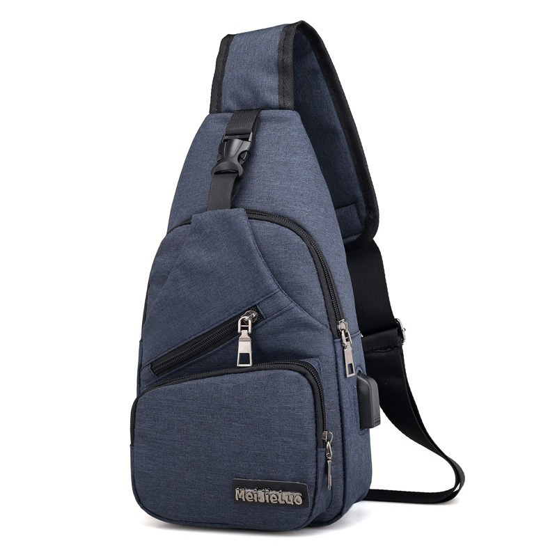 USB Charging Connection Crossbody Bag Men Waterproof Solid Polyester Chest Packs Male Casual Men's Single Shoulder Bags