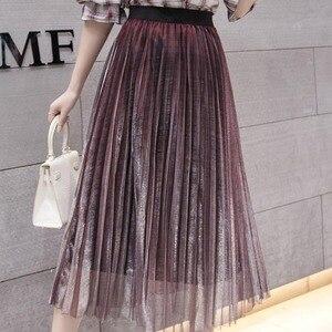 Image 2 - נשים קיץ קפלים חצאיות 2019 רשת Midi Saia גבוה מותניים בציר תחרה גברת חצאית נהיגה לראשונה חצאית Femme Falda Etek Mujer אפור סגול ירוק