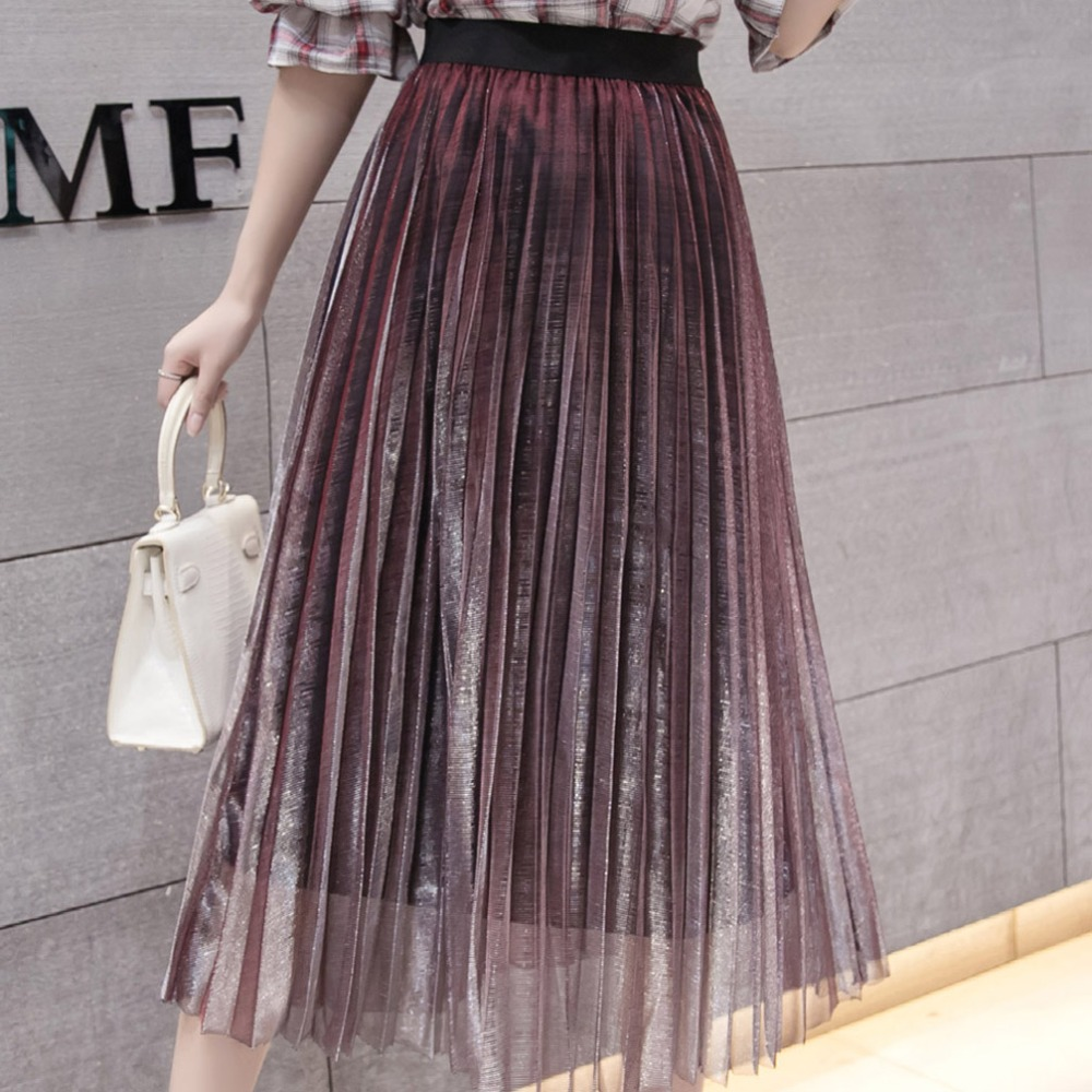 Image 2 - Women Summer Pleated Skirts 2019 Mesh Midi Saia High Waist Vintage Lace Lady Skirt Jupe Femme Falda Etek Mujer Gray Purple Green-in Skirts from Women's Clothing