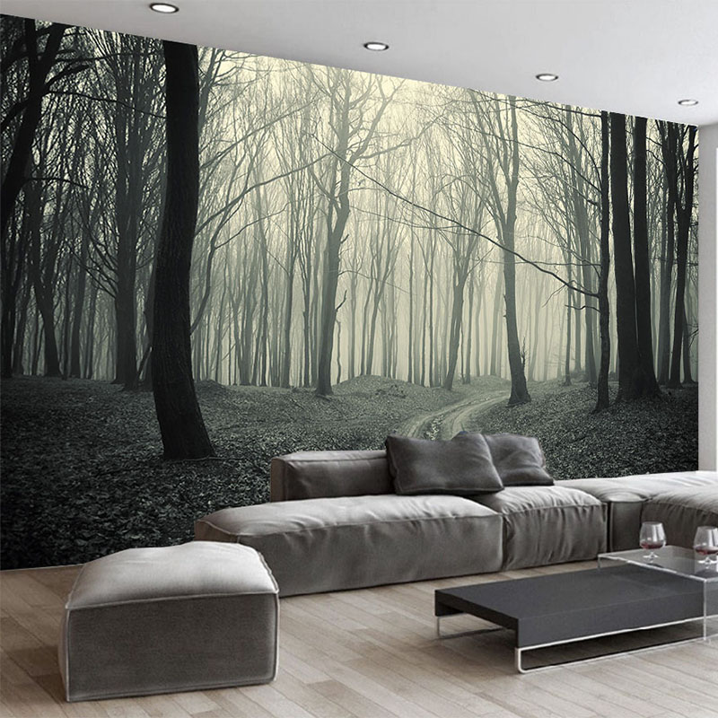3D Wallpaper Retro Foggy Forest Tree Photo Mural Living ... on Creative Wall  id=16945