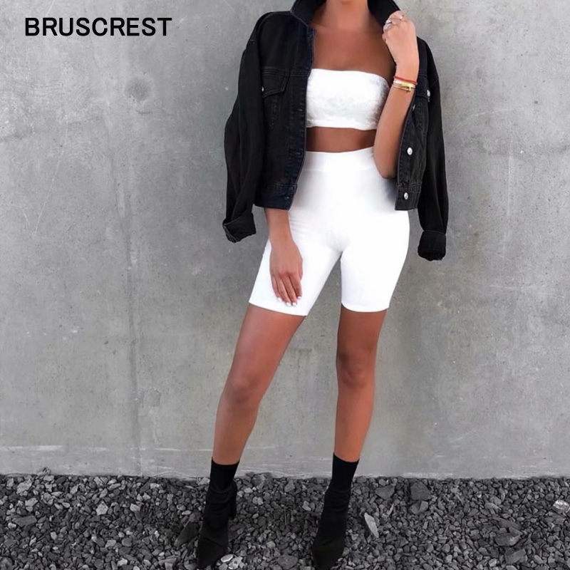 Biker Shorts Tracksuit Slim White Black Casual High Waist Shorts Womens Fitness Solid Sexy Booty Shorts Summer 2019