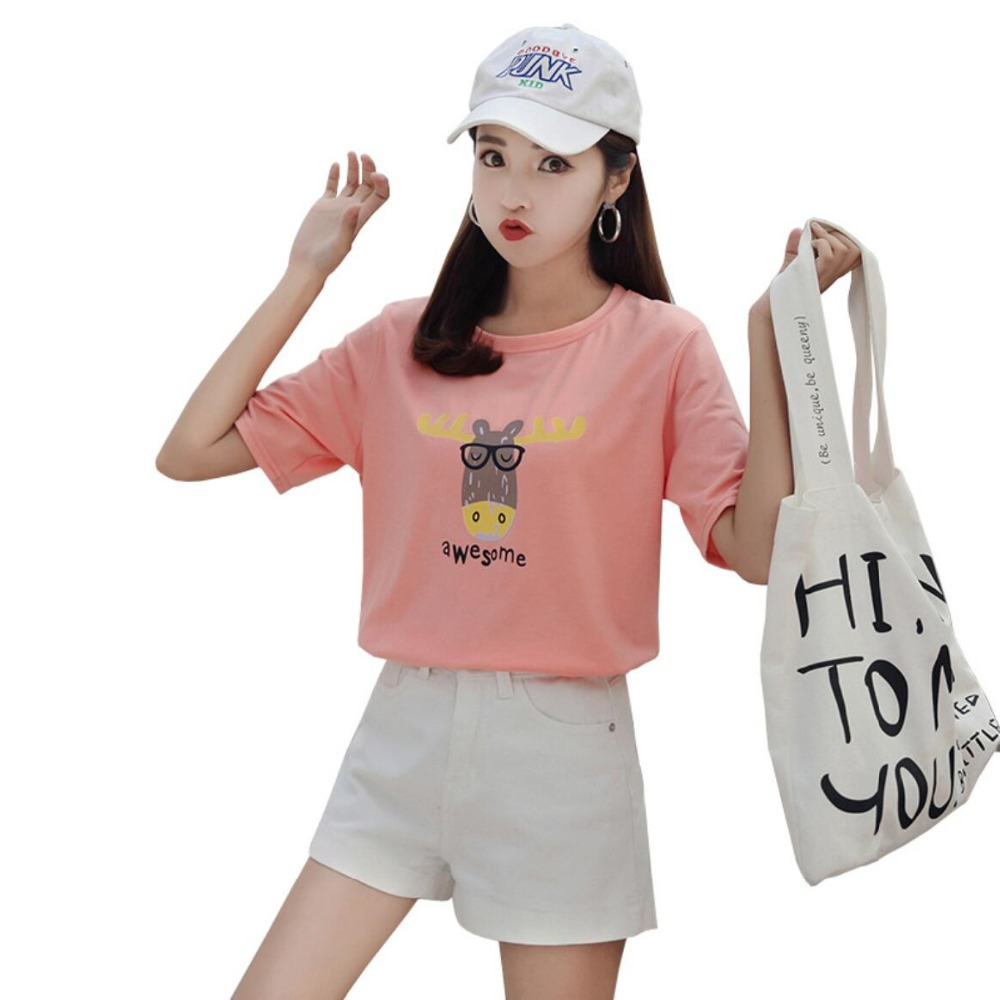 2019 New Spring  Summer Fashion Printed Women T-shirt Pink Pruple Women Tshirts Summer Casual  Women Top JY1001
