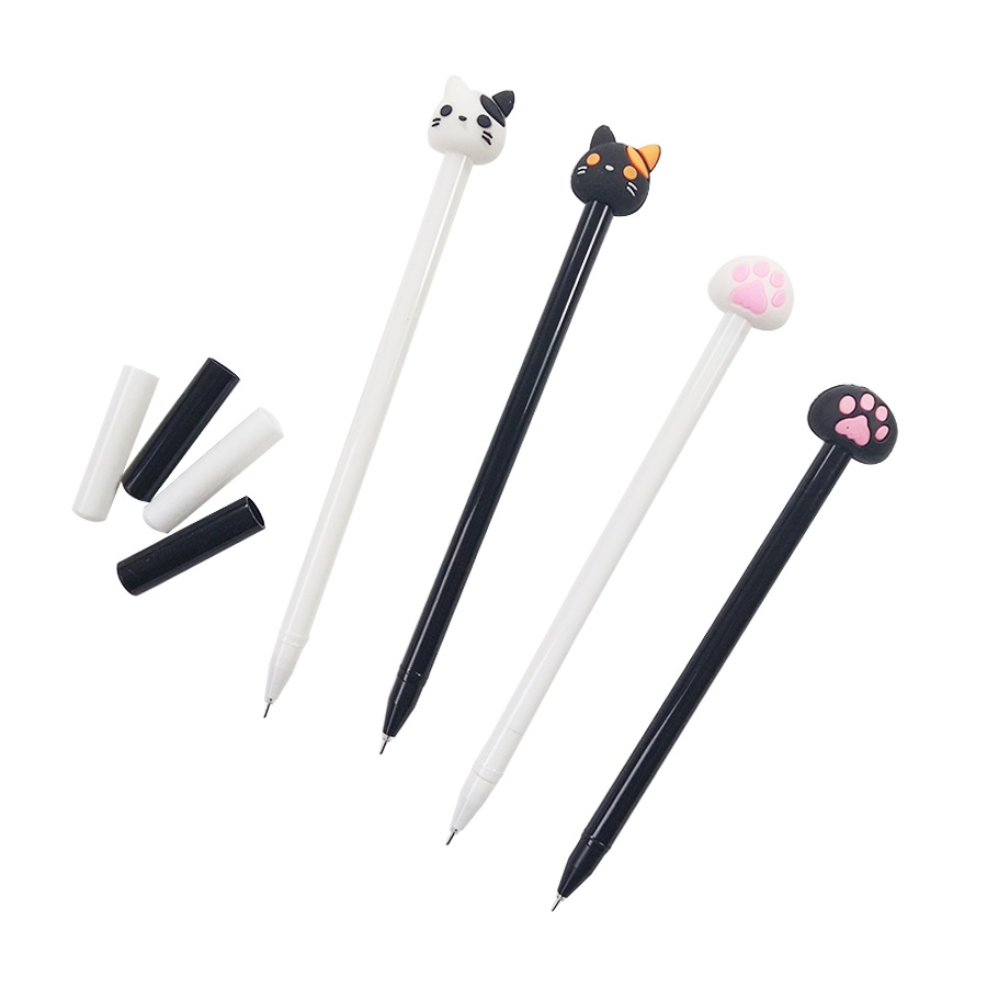 1Pcs/lot Kawaii Black White Cat Gel Pen Plastic Pens For Grils Gifts Supply Unique stationery Back to School & Party Favors