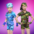 Free Shipping New Stage Performance Kids Dance Clothes Costumes Children Boys Girls Camouflage Military Uniforms Army Suits