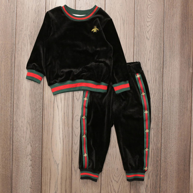 3 Colors Long Sleeve Children Clothing Set Baby Boys Girls Clothes Set Long Sleeve Shirt+Pants School Tracksuit Toddler Clothes