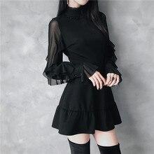 Ruibbit חדש הגעה נשים אביב סתיו גותי פאנק מיני שמלה באיכות גבוהה ארוך שרוול סקסי שחור שמלת אופנה שמלות נקבה