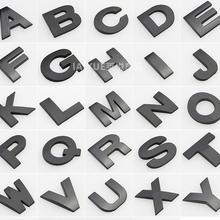 Черная высота 2,6 см буквы Алфавит автомобильные эмблемы Буквы A B C D E F G H I J K L M N O P Q R S T для модификации украшения