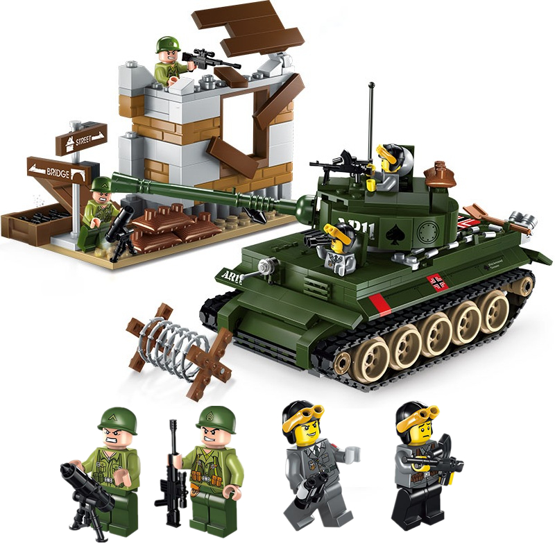 ENLIGHTEN City Military War Tiger tank Fighter exercises Building Blocks Sets Bricks Model Kids Toys Compatible Legoings military army war special police force ch 47 chinook helicopter building blocks sets bricks model kids toys compatible legoe