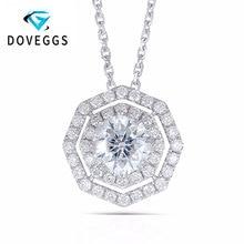 DEggs 18K 750 White Gold 6*6MM Eightangle Cutting F Color Lab Grown Moissanite Diamond Halo Pendant for Women Free Shipping