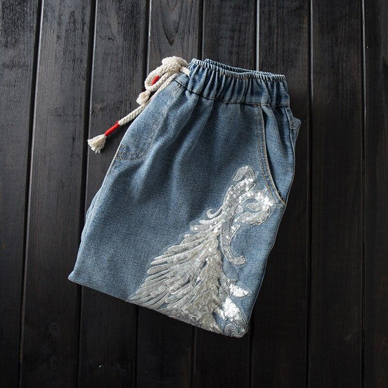Fille pantalon cordon dentelle taille élastique paillettes jeans lâche rétro art bordure été nouveau style pantalon femmes