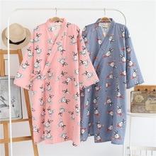 ใหม่ 100% ผ้าฝ้ายผ้าพันคอเสื้อคลุมอาบน้ำการ์ตูนกระต่ายฤดูร้อนบาง Robe Home Leisure ชุดนอน Kimono Bath ยาว Sheer Robes