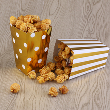 50pcs Popcorn Boxes Yellow Design Trio Miniature Scalloped Edge Cardboard Party Candy Container Treat Cartons (Gold)