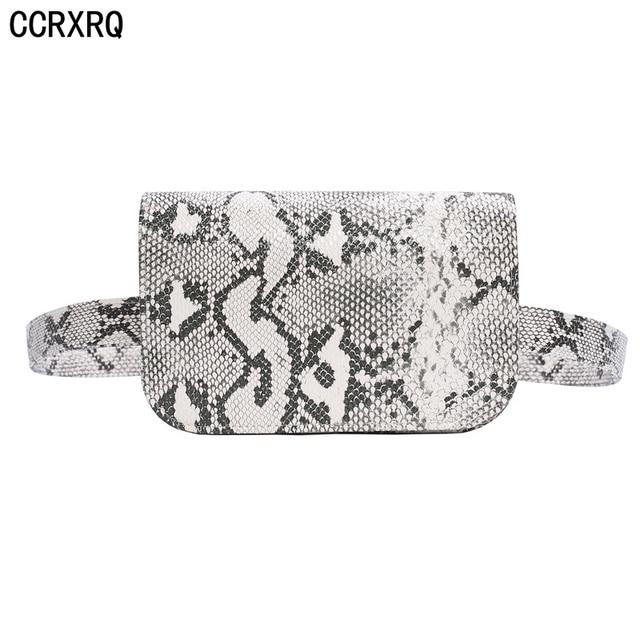 CCRXRQ Waist Bags Women Handy Serpentine Fanny Pack High Quality PU Leather Ladies Belt Bag Fashion Snake Skin Waist Pack Girl