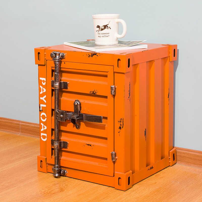 Промышленный стиль ретро контейнер из кованого железа прикроватный столик замок шкафчик шкаф для хранения кровать ящик шкаф