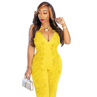 Women Yellow Rompers Sexy V Neck Summer Bodysuit Sleeveless Embroidery Overalls One Piece YF8184