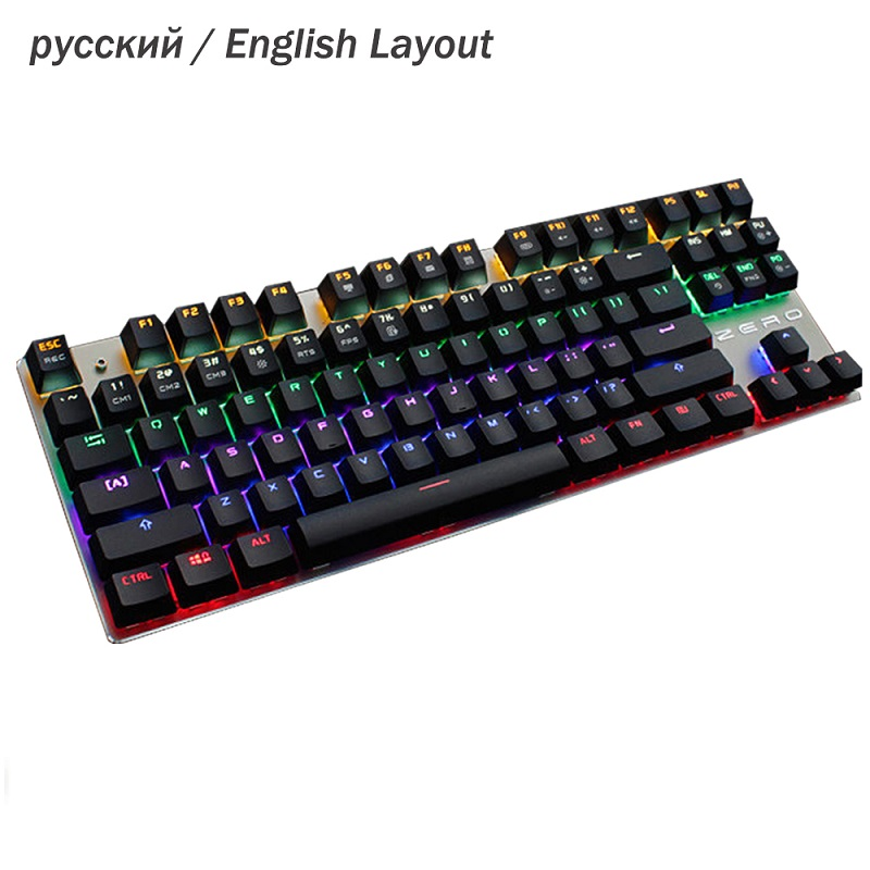 USB Wired Genuine Gaming Mechanical Keyboard RGB LED Backlit Ergonomic Design Pro Gamer Keyboard English Russian Layout russian english game keyboard usb wired rgb backlit keyboard 3 color switchable led light for laptop computer gamer