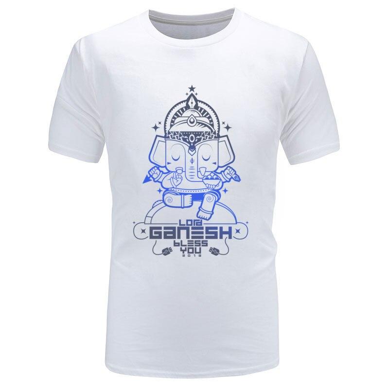 White Great Tshirts Hinduism Lord Ganesh Bless You Buddhism Elephant God Mens T Shirts Printing Fashion Leisure Tops & Tees 3XL