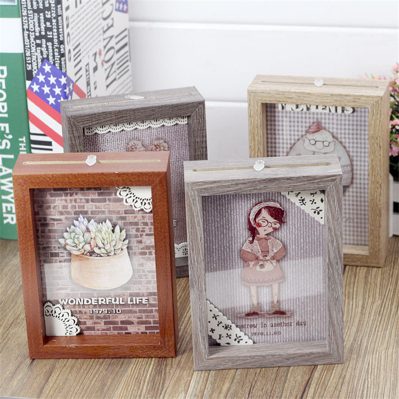 Natürliche Holz DIY Familie bilderrahmen Seitige Bilder Display ...