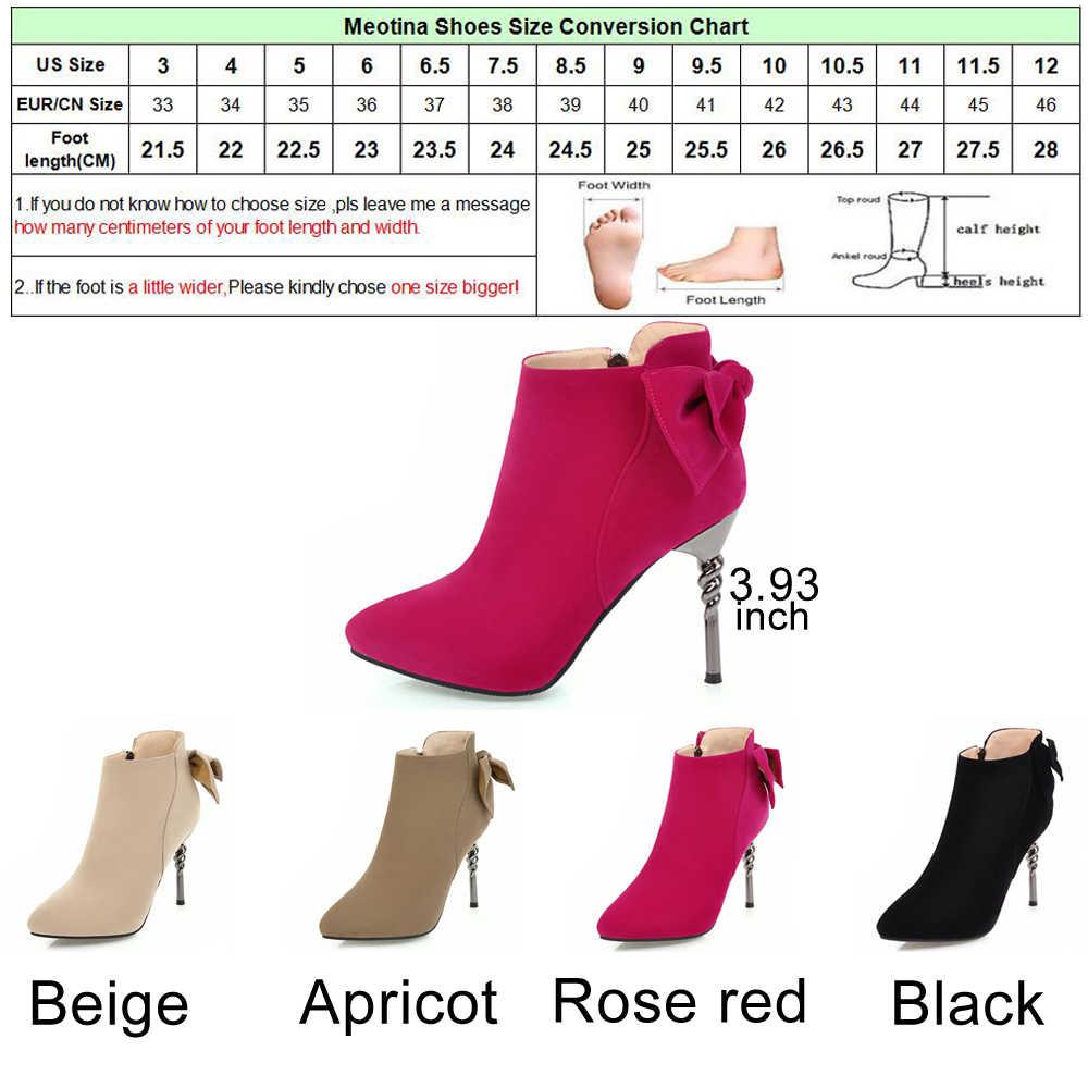 Meotina/женские сапоги ботильоны на высоком каблуке с бантом Женские пикантные вечерние туфли женские бархатные сапоги осень Зимние черные сапоги 2018 Большие размеры 42 43