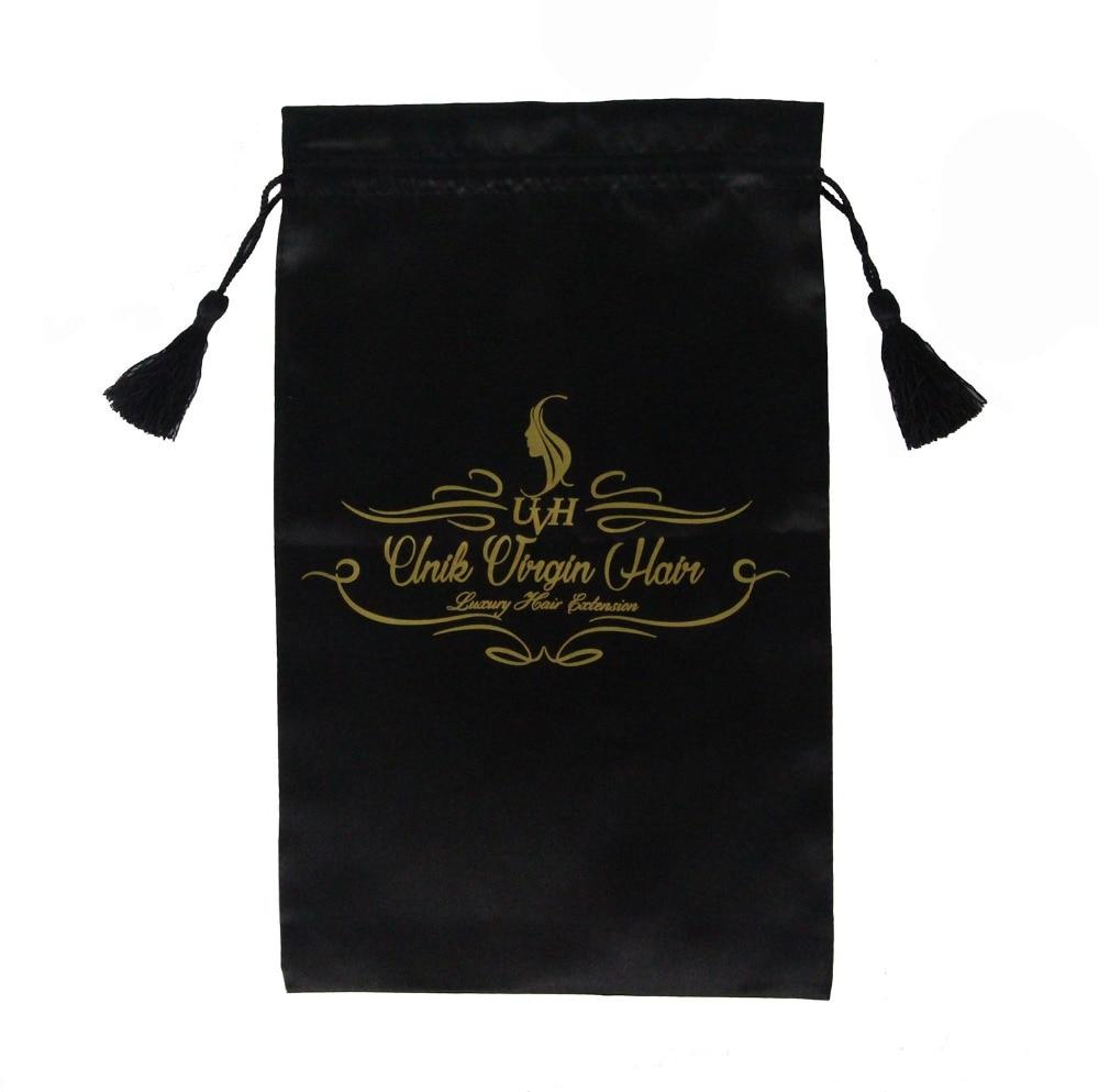 200 pc Drawstring와 술, 헤어 확장 번들 화이트 핑크 블랙 버진 헤어 가방 사용자 정의 로고와 새틴 가방