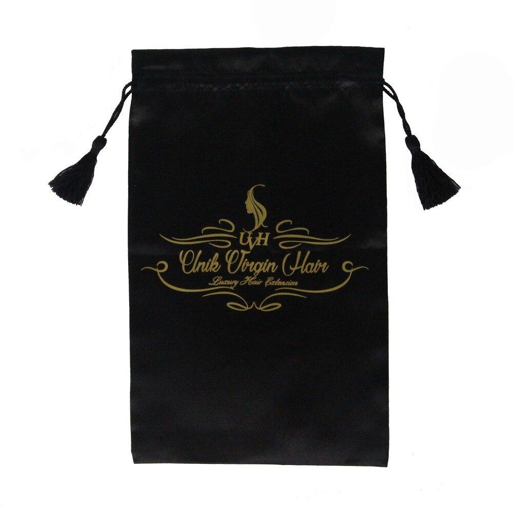 200 pcs White Pink Black Virgin Hair Bag with Drawstring and Tassel, Hair Extension Bundles Satin Bag with Logo Customized