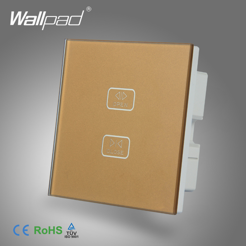 High End Curtain Switch Wallpad Gold Toughened Glass 2 Gang Touch Roller Curtain Shutter Window Control Wall Switch цена