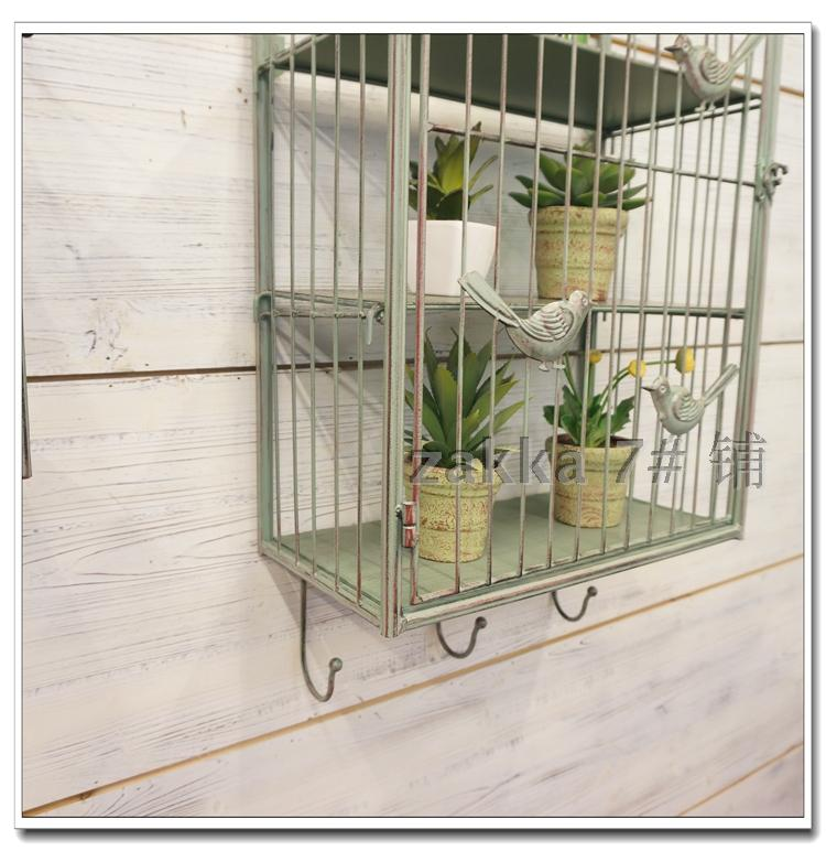 French village vintage wrought iron bird cage decorative wall flower wall hangings home decor hooked fashion shop shelving