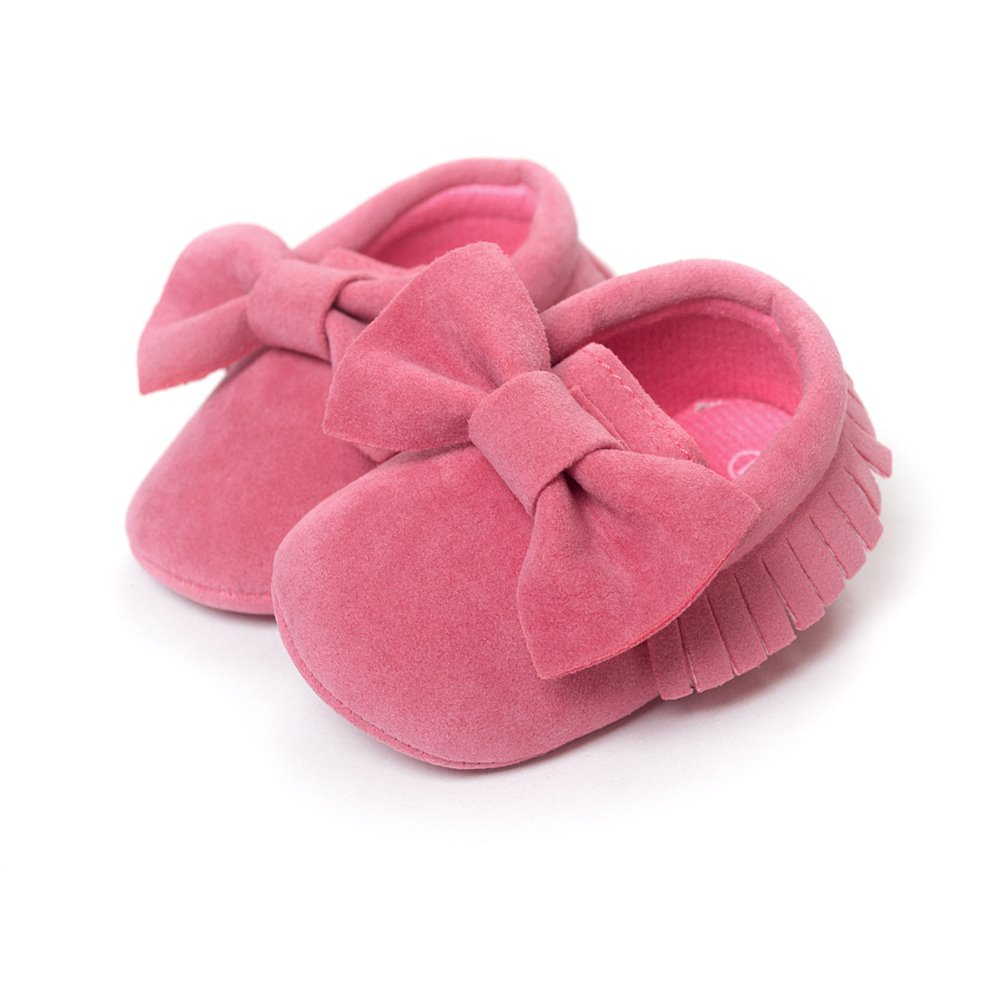 120pairs Bow Suede Baby Girl Shoe Leather Fashion Children Moccasins Solid Color First Walker Toddler Shoes Multi-Color 0-2years
